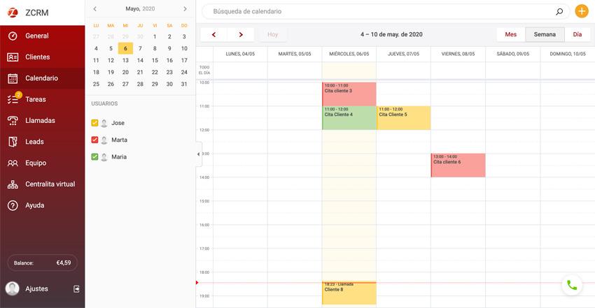 ZCRM calendario