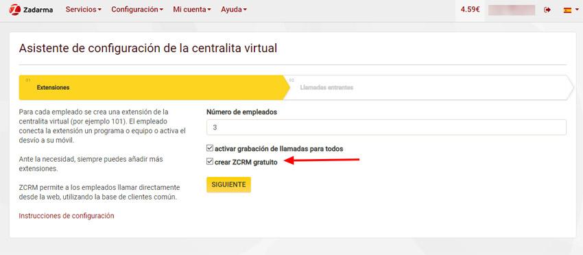 Creación centralita virtual primer paso