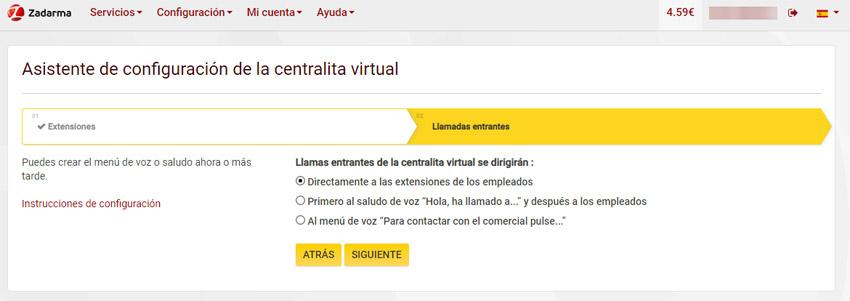 Creación centralita virtual segundo paso