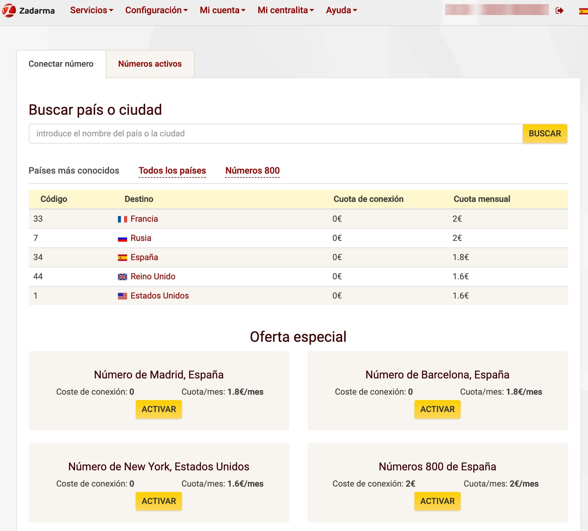 elgir numero virtual en Zadarma