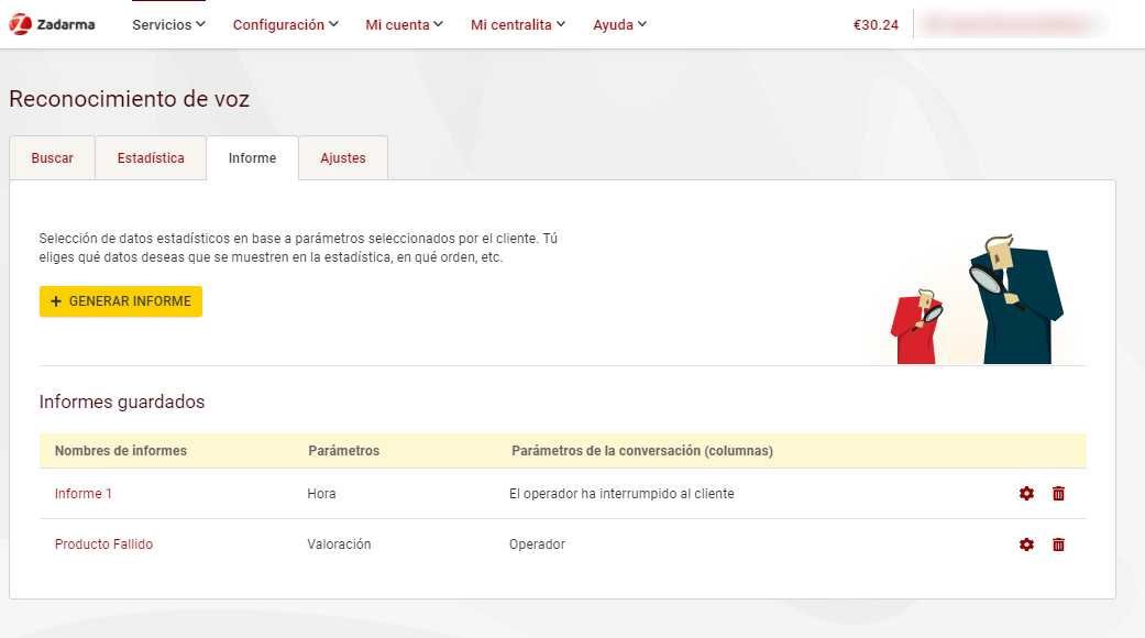 Lista informes analitica de voz Zadarma