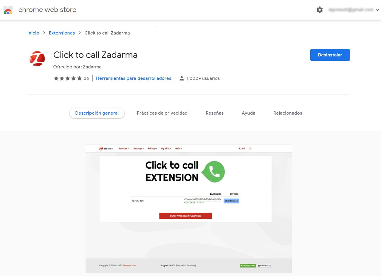 click to call zadarma chrome