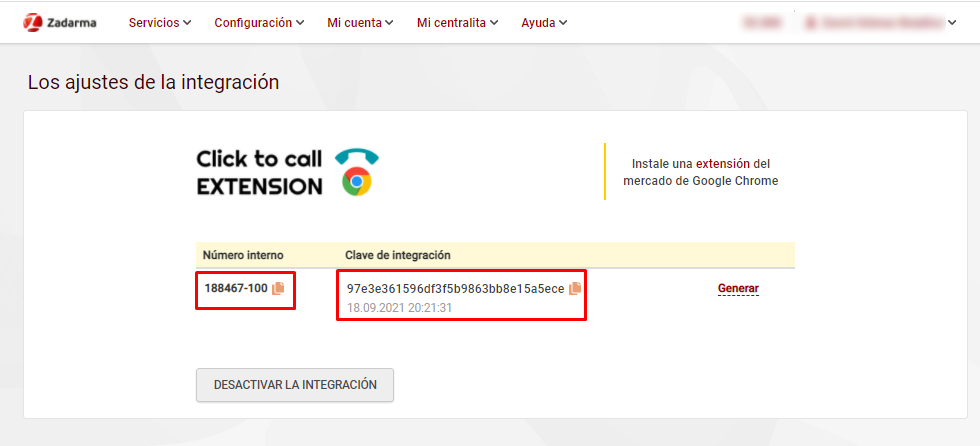 click to call zadarma clave de integracion
