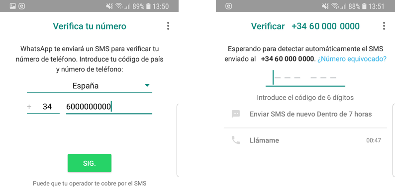 Introducir y Verificas el número virtual en whatsapp