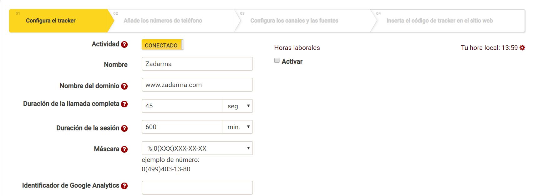 Configuración del call tracking de Zadarma