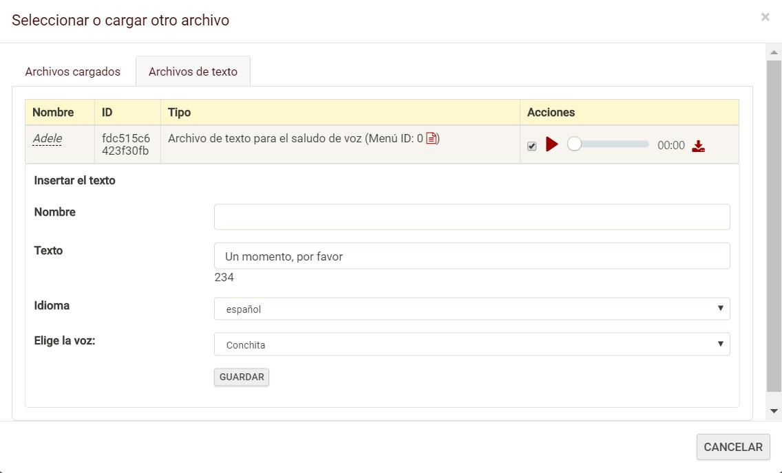 seleccionar o cargar otros archivos
