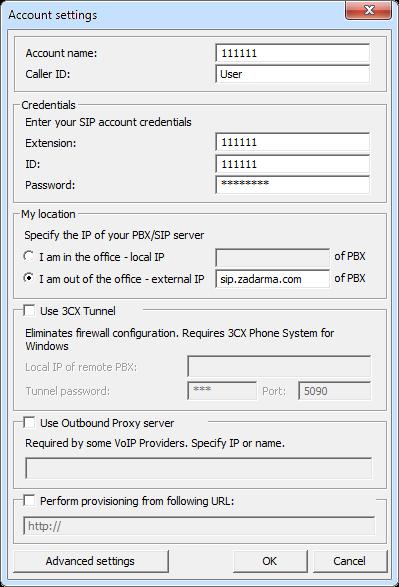 Zadarma: 3CX Phone setup manual
