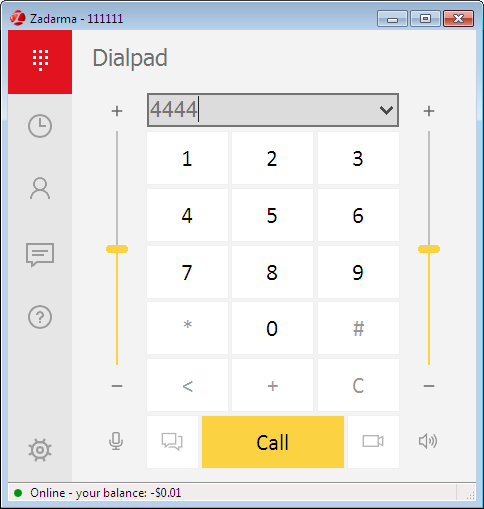 Zadarma para Windows teclado