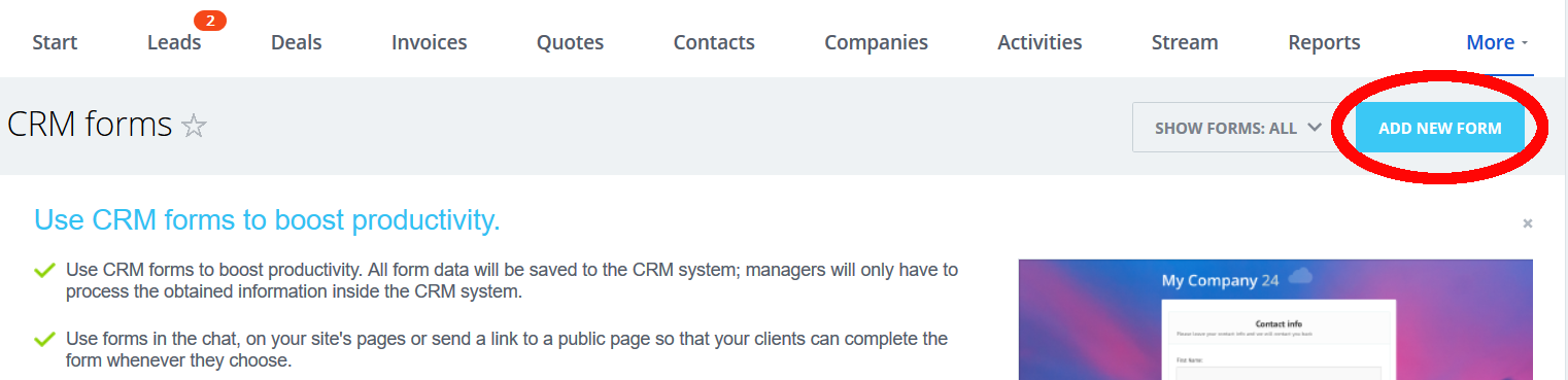 Add New CRM Form