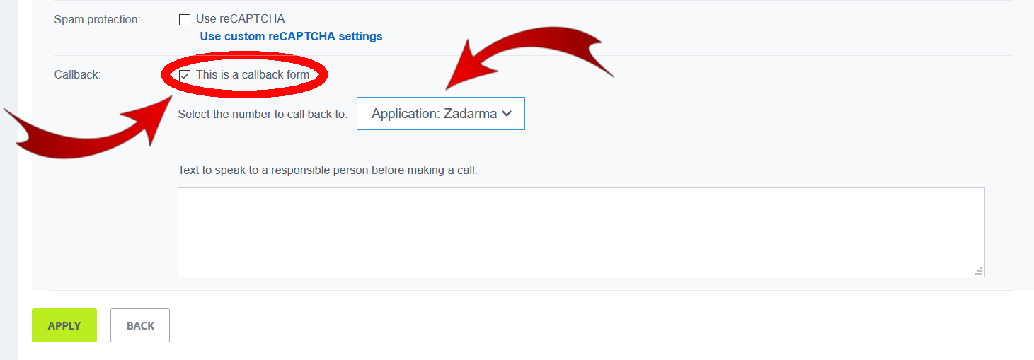 Application Zadarma Callback
