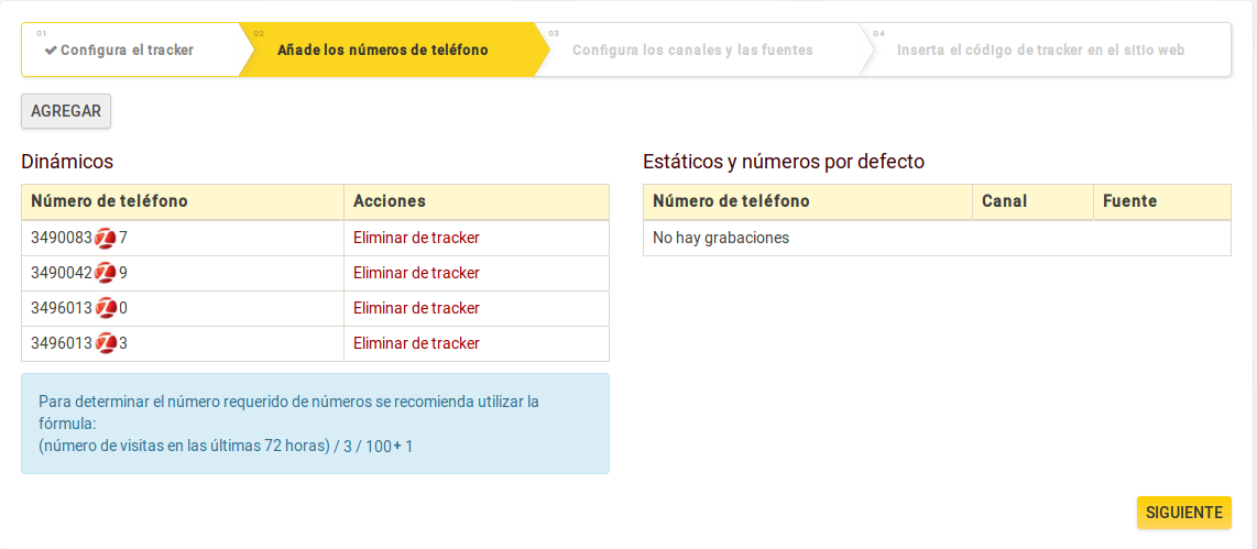 Call tracking de Zadarma paso 3