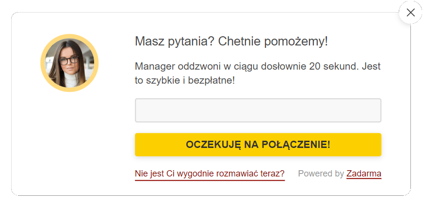 Widget Callback Zadarma formularz